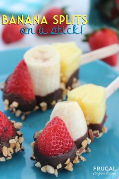 Banana Split Sticks – Dessert on a Stick! Fun kids snack idea for summer. Recipe on Frugal Coupon Living.