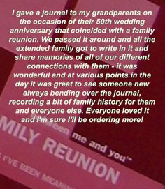 Between Me And You Reunion journals. Pass it around at your family gathering and get back a truly personal keepsake filled with handwritten responses to cherish. Give them as gifts at your next family reunion. Journal Sample, 50th Wedding Anniversary, Relationship Problems, No Response, Memories, Thoughts, Writing, Shirt, Ideas