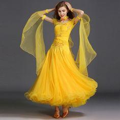 Diamonds Ballroom competition standard dance dress ruffles waltz dance dresses for women professional dance clothing