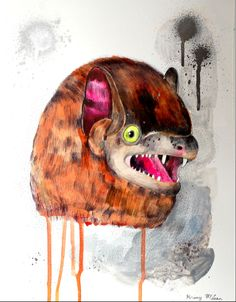 bat face. original painting mixed media on paper.