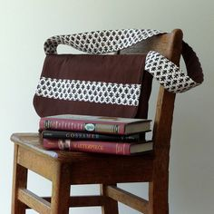 Kids Messenger Bag Brown Handprinted Cotton Optional by LilaKids, $47.00
