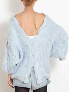 Blue Backless Oversized Cable Knit Sweater #jumper #winter #comfy