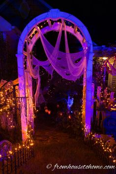 White creepy cloth reflects light | 7 More Ways To Create Spooky Outdoor Halloween Lighting