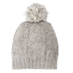 Women's Sijjl Wool Cable-Knit Pom-Pom Beanie,