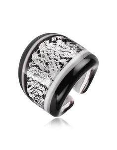 Cuba - Black And White Murano Glass Ring by Antica Murrina