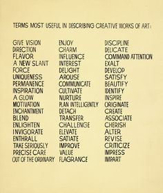 John Baldessari, Terms Most Useful in Describing Creative Works of Art, 1966-68. Acrylic on canvas; 114 x 96 inches. Courtesy of the artist.
