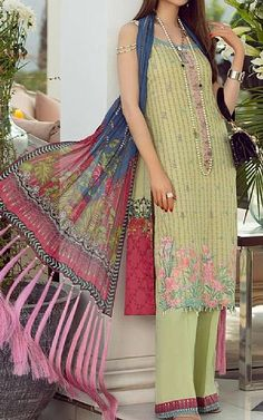 Light Green Lawn Suit   Buy Rang Rasiya Pakistani Dresses and Clothing online in USA, UK Pakistani Lawn Suits, Pakistani Dresses, Fashion Pants, Fashion Dresses, Rang Rasiya, Suits Online Shopping, Add Sleeves, Buy Rings, Lawn Fabric