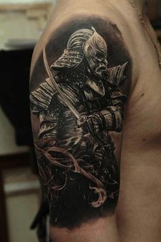 Amazing half sleeve black and grey samurai tattoo - I love every detail of this black and grey tattoo and the smoke effect. It looks realistic. #TattooModels #tattoo