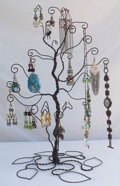 Wire Jewelry Tree Stand Earring display PRE by ClaudinesLimited. $36.00, via Etsy.