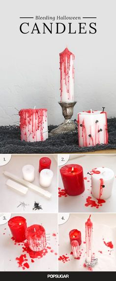 Transform dollar store candles into bleeding votives that really set the tone for an eerie evening of Halloween fun. Transform dollar store candles into bleeding votives that really set the tone for an eerie evening of Halloween fun. Halloween Tags, Halloween Candles, Halloween Birthday, Halloween 2019, Holidays Halloween, Happy Halloween, Halloween Party Ideas, Halloween Makeup, Homemade Halloween