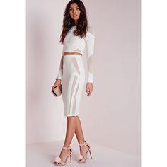 Missguided Mesh Panel Midi Skirt ($34) ❤ liked on Polyvore featuring skirts, white, white skirt, midi skirt, missguided skirt, mesh panel skirt and mid-calf skirt