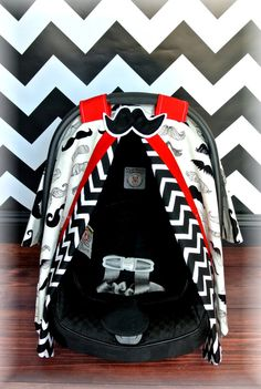 MUSTACHE, carseat canopy, car seat cover, black, RED, white, chevron, polka dots, Alexander Henry, bows, baby girl, baby boy, infant boy