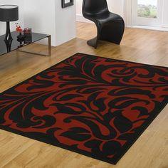 Modern Contemporary Large Black Red Damask Rug 180 x 250 cm x Carpet Black Rug, White Rug, White Area Rug, Red Black, Large Black, Area Rugs Cheap, Cheap Rugs, Damask Rug, Red Rooms