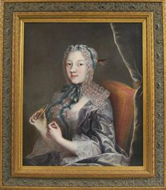 French School, 18th Century Elegant Young Woman Holding a Tatting Shuttle. - Current price: $150