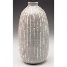 "Clyde Burt vase, stoneware with gray matte glaze and ivory linear designs, signed with incised ""CB"","