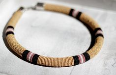 Honey Gold and Black Beaded Necklace, Seed Bead Necklace, Bead Wrapped Necklace, Zulu Style Jewelry, Masai Style Hoop Necklace, Striped Rope on Etsy, $75.00