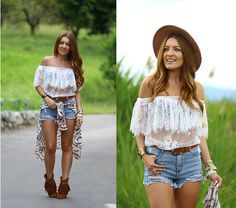 White Boat Neck Lace Sheer Mesh Blouse-SheIn