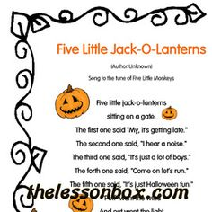 The Lesson Box. Five Little Jack-O-Lanterns - Song- Halloween.