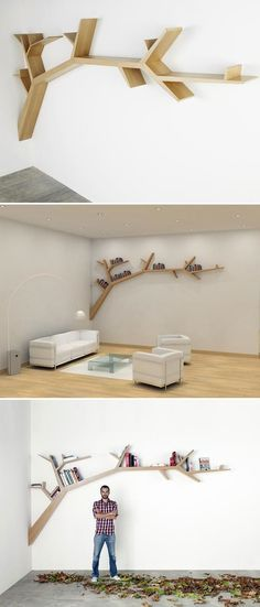 tree branch wall-length bookshelf