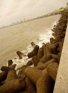 Tripods at Mumbai's marine drive..
