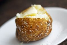 Perfect Baked Potato. Heat oven to 350 degrees, wash & dry potatoes in cold water. Poke 8 to 12 holes in each potato with a fork. Place in bowl and cover lightly with olive oil. Sprinkle with Kosher salt. Bake on middle rack for 1 hour on cookie sheet (flip after 30 min). NOTE: If you're cooking more than 4 potatoes, you'll need to extend the cooking time by up to 15 min. This is how I always do potatoes and it's amazing. Peel is crispy & flavor is wonderful. Much better than wrapping in…