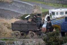 Outlander stars Sam Heughan and Caitriona Balfe brave the weather in Dunure as pair film drama's third season