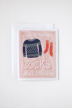 Socks & Sweaters - Blank Card (set of 5) via Etsy.