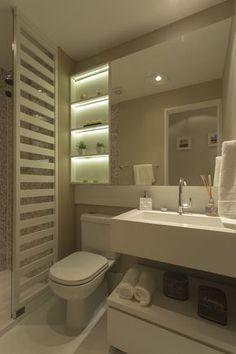 I like the shelves and most everything else but want a double vanity. Banheiro decorado do My Joy Small Bathroom Vanities, Bathroom Renos, Bathroom Interior, Modern Bathroom, Toilet Design, Bath Design, Bad Inspiration, Bathroom Inspiration, Ideas Baños