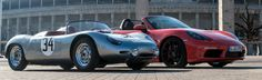 http://chicerman.com  carsthatnevermadeit:  Porsche 718 RS Spyder and Porsche 718 Boxster. I know Ive made this comparison before but I thought it was interesting to see the two 718s side by side because the the Boxster looks so massive compared to the spyder  #cars
