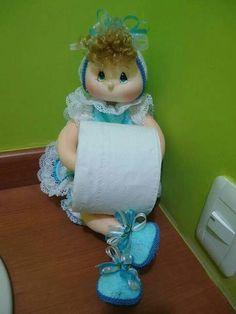 Geri Dönüşüm Projeleri Felt Crafts, Diy And Crafts, Crafts For Kids, Arts And Crafts, Doll Patterns, Sewing Patterns, Turquoise Bathroom Accessories, Bathroom Crafts, Paper Cover