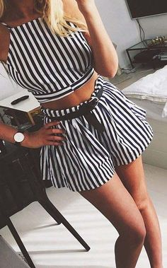 Nautical Stripe Shorts Co-ord Set