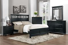 Sanibel Black 5pc queen bedroom set, $1299, Also comes in white.