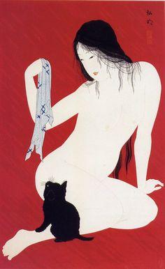 Nude with kitten - Takahashi Hiroaki