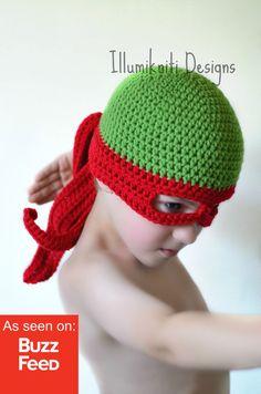 Haaaaaya! Machen Sie sich bereit, die Kanalisation mit diesem tollen Hut zu regieren, die Kinder und Erwachsene werden einen Kick aus der!  Sie können die Maske Farbe entscheiden Sie im Dropdown-Menü oben rechts.  ~ ~ Fügen Sie passende fingerlose Handschuhe für zusätzlichen Spaß! ~ ~ https://www.etsy.com/ca/listing/210874825/turtle-ninja-gloves-crochet-fun-made-to?ref=shop_home_active_1  Hinweis *** - eine Kindergröße passt kein Kleinkind richtig da die Auge Löcher nicht übereinstimmt…