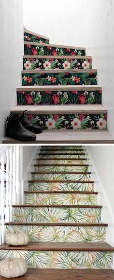 Eye-Catching Decals Add Unexpected Art to Plain Staircases