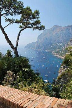 hermosa vista desde la parte mas alta, despues de subir en el fonicular. Capri Italia
