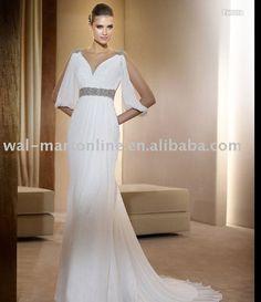 Elegant A Line V-neck Empire Beading Chiffon Sweep Train EU253 Beach Wedding Gown Dress
