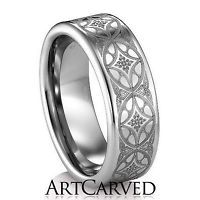Men's Wedding Band: Art Carved Citadel, Size 10 Tungsten Carbide