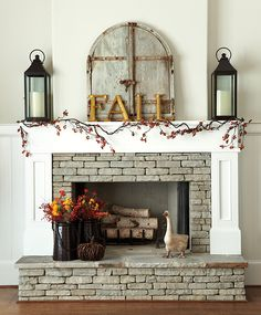 fall mantle decor-- could change the letters and flowers each season Fireplace Mantle, Fireplace Design, Fireplace Ideas, Halloween Fireplace, Brick Fireplaces, Mantle Art, Wooden Mantle, Brick Hearth, Basement Fireplace