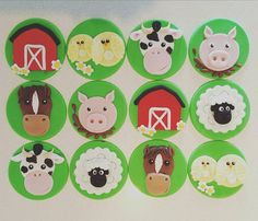 24 x Handmade Fondant Farm Animal Cupcake Toppers. Includes: 6 x Cow Cupcake Toppers 6 x Pig Cupcake Toppers 6 x Horse Cupcake Toppers 6 x Chicken Cupcake Toppers Made to order so please allow 7-10 days to make and dry before posting. Each Topper is created by hand with