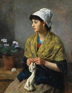 strickendes Mädchen ~ Otto Scholderer, 1881
