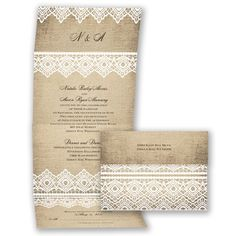 Country Lace - Seal and Send Invitation. Make an impression with this linen and lace seal and send wedding invitation. Invitation includes your reception details on the bottom panel
