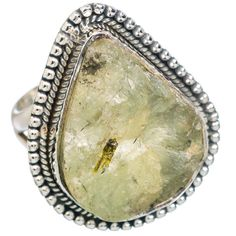 Rough Prehnite 925 Sterling Silver Ring Size 8.25 RING767784