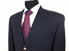 TOMMY HILFIGER USA Men's 42S Navy Blue Gold Buttons Wool Classic Blazer/Jacket #TommyHilfiger   Men's Fashion & Style   Shop Menswear, Men's Clothes, Men's Apparel & Accessories at designerclothingfans.com