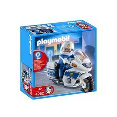 Sej vintage Playmobil politi motorcykel nr. 4262 med betjent der med sirene sætter efter forbrydere og fartsyndere i din Playmobil samling.