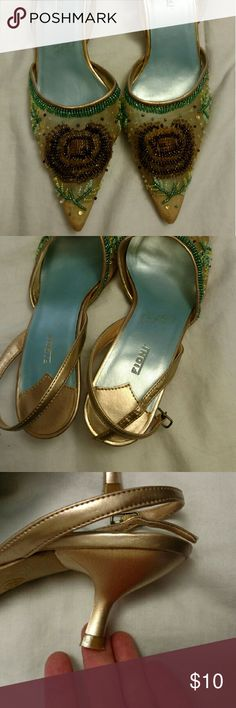 Fioni.     Sandals size 6. 1/2 Super cute sandals Size 6. 1/2 Beaded details on the toe area. Ankle strap Soles are not worn Smoke and pet free home Open to offers Save on bundles FIONI Clothing Shoes Sandals