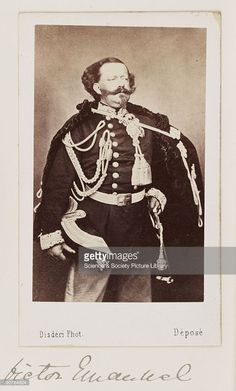 A carte-de-visite portrait of King Victor Emmanuel II, King of Sardinia, taken at the studio of Andre-Adolphe-Eugene Disdéri (1819-1889) in about 1865. Victor Emmanuel became the first king of a united Italy, following the risorgimento.
