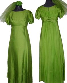 Vintage 60s Avacado Green Waterfall Tulle Bow Back Evening Dress and Flower Hair Comb Small