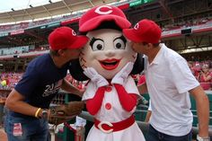 Rosie, one of the Cincinnati Reds' mascots, found herself in a Bryan sandwich last night as Olympic Gold Medalists Bob and Mike Bryan threw out the first pitch at Great American Ballpark.