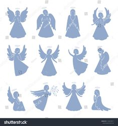 Set of twelve Angels with simple wings on a light background. Angels silhouettes for greeting card, poster and banner for Easter, Christmas, religion calendar. Angel Silhouette, Silhouette Vector, Christmas Angel Decorations, Christmas Angels, Paper Cutting, Wooden Nativity Sets, Laser Cut Paper, Quilting Stencils, Christian Christmas